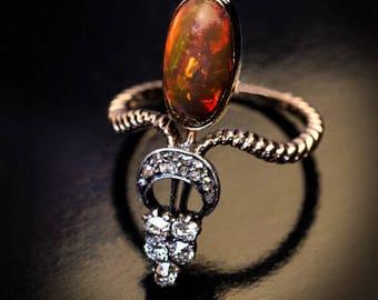 Antique Victorian Opal Diamond Gold Ring