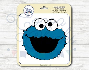Cookie Monster / SVG Cutting Files / svg, dxf, studio3, eps, pdf, png / Digital file / Cuttable file / Silhouette files / Cricut Files / DIY