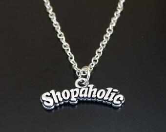 Shopaholic Necklace, Shopaholic Jewelry, Shopaholic Charm, Shopaholic Pendant, Shopping Necklace, Shopping Pendant, Love to Shop Necklace