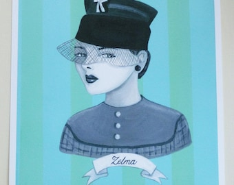 Zelma, a print of my original painting of a vintage woman wearing a hat.
