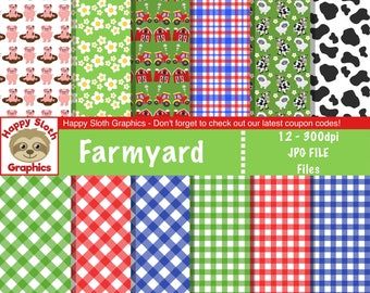 Farmyard digital paper set, personal and commercial use Farmer digital Scrapbooking papers.