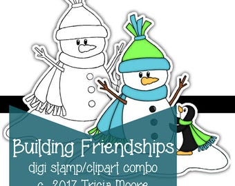 Building Friendships Snowman and Penguin digi Digital Stamp Clipart Kit printable COLOR page Instant Download