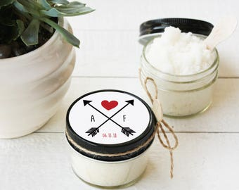 Set of 12- 4oz - Sugar Scrub Favors - All-Natural, Vegan - Bridal Shower Favors | Boho Shower Favor | Tribal Shower Favor | Arrow Favor