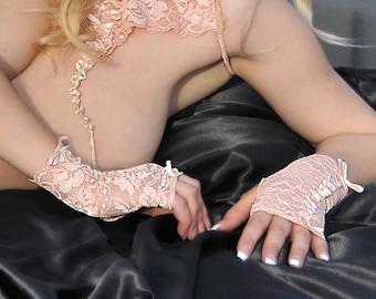 Fingerlose Handschuhe - Spitze - Spitze Dessous