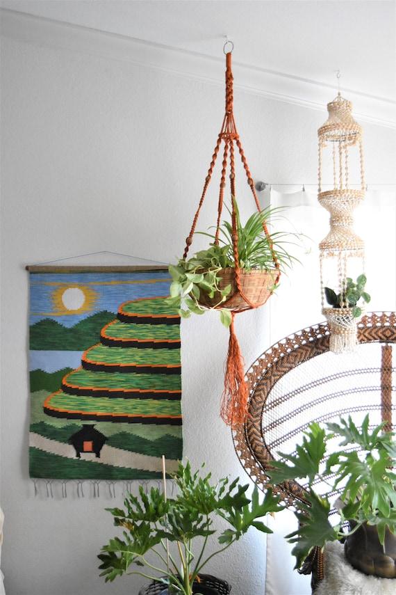 large vintage woven southwestern boho sun landscape wall hanging tapestry / textile / fiber art
