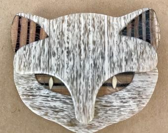 Lea Stein Cat Face Brooch - Signed Lea Stein