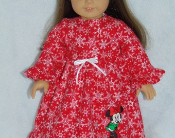 Red With White Snowflakes Nightgown-Embroidered Minnie Mouse on Skirt - American Girl / 18 inch Doll - FREE SHIPPING