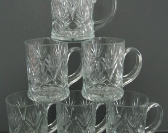 Vintage Glass Mugs , Clear Glass Mugs , Pineapple Pressed Glass Mug , Set of 6