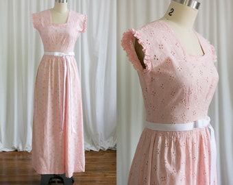 Strawberry Ice Cream dress | vintage 30s dress | 1930s / 1940s cotton gown | vintage pink eyelet maxi dress | 40s pink summer / sun dress