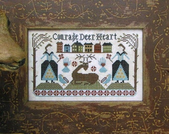 Courage Deer Heart by Carriage House Samplings Counted Cross Stitch Pattern/Chart