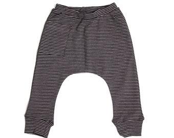 Baby Boy Clothes - Baby Leggings, Boy Baby Clothes, Baby Boy Leggings, Baby Harem Pants, Baby Boy Pants, Boy Baby Pants - Striped Black