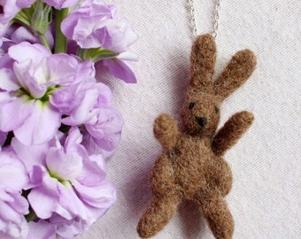 Rabbit Necklace, Needle Felted Rabbit Necklace, Woodland Animal Necklace, Woodland Animal Jewellery, Rabbit Jewellery, Silver Plated