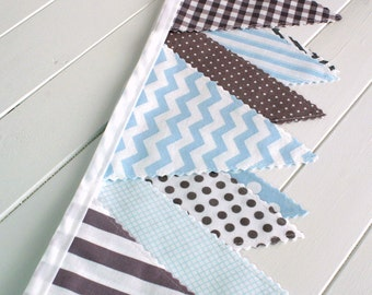Bunting Fabric Banner Baby Boy Nursery Decor Nursery Bunting Fabric Bunting Baby Shower Party Decorations Sky Blue Gray Grey Chevron Dots