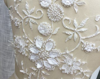 Ivory 3D Flower Leaf Pearl Beaded Bridal Lace Applique with Handmade Petals Leaf Pearls for Bridal Illusion Gowns, Garments, Costume Design