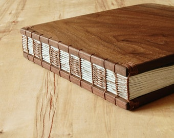 Walnut Wood Wedding Guest Book or Vacation Home Cabin Guestbook black  anniversary book lover gift custom memorial book - ready to ship