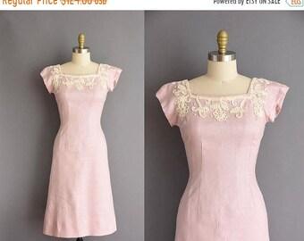 25% OFF SHOP SALE..//.. 50s Jerry Gilden pink linen vintage wiggle dress. 1950s vintage dress