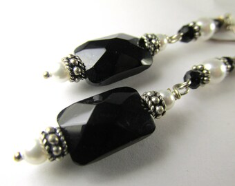 Long Black and White Swarovski Pearl and Faceted Black Glass Earrings on all Sterling Silver