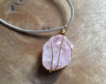 Raw Rose Quartz Necklace - Raw Stone Necklace - Crystal Necklace - Quartz Necklace -Healing Necklace Jewelry - wire wrapped necklace