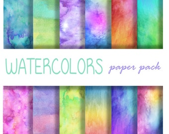 WATERCOLORS PRINT PAPERS - printable patterned digital paper backgrounds for crafts, photography, Wallpaper, Party, birthday- 12 Papers