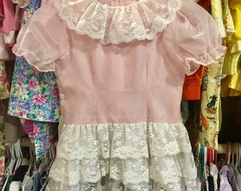 80s Sheer Dotted Swiss Dress 4T