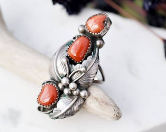 Long Sterling Silver Native American Coral Ring, Long Navajo Ring, Sterling Silver Coral Ring, Old Pawn Coral Ring, Sterling Old Pawn Ring