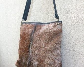 Goat hair Bag, Leather Bag, Satchel Bag, Crossbody Bag, Goat Fur Bag, Brown Bag, Crossbody Bag, Cowhide Bag, Choc Bag called Solange