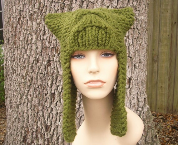 Knit Hat Womens Hat - Dragon Slayer Ear Flap Hat in Olive Green Knit Hat - Green Hat Green Ear Flap Hat Womens Accessories Winter Hat
