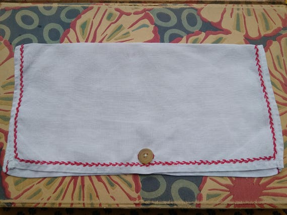 Large Victorian Napkin Case Handmade French White Linen Pouch Red Hand Embroidered #sophieladydeparis