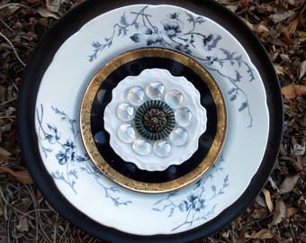 Decorative Garden Art, Yard Art Plate Flower, Recycled Garden Art, Home Decor, Plate Flower, Garden Decor, Vintage Plates and Glassware