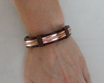 Leather and Copper Bracelet, Men's Leather and Copper Bracelet, Mens Leather Bracelet, Mens Copper Bracelet, ColeTaylorDesigns