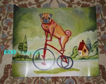 BIG pug dog print original PUGCYCLE art