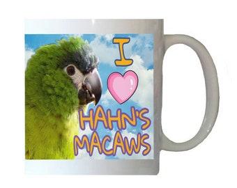 I Love Hahn's Macaws Macaw Parrot Blue Sky Clouds White 11oz Ceramic Coffee Mug