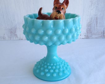 Turquoise Hobnail Milk Glass Aqua Fenton Pedestal Candy Dish Blue Milk Glass Compote 1950's Fenton Hobnail Milk Glass Footed Pedestal