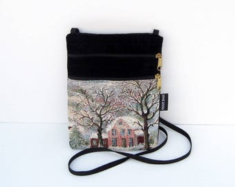Winter Scene Tapestry Cross Body Flat Purse
