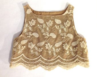 Women's Gold Lace Crop Top