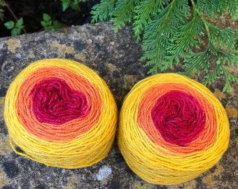 "100grms hand painted merino/nylon yarn dyed to match sock yarn "" sunset"""