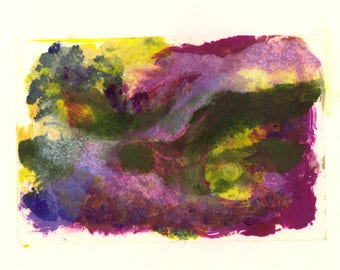 Landscape Study #7 Colourful monoprint in rich purples magenta green
