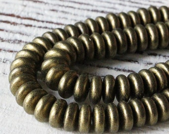 6mm Rondelle Beads   Rondelle Spacer Beads -  Jewelry Making Supply -  Antique Gold Metallic Suede - Choose Amount