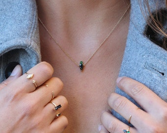 GREEN zircon NECKLACE, Delicate Necklace - Tiny Gold necklace, dainty necklace, simple, everyday