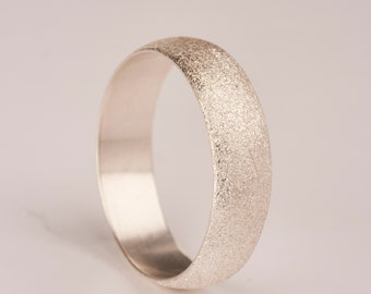 "Silver 6mm ""brushed"" finish ring"