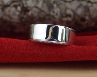 Sterling Silver 7 mm High Polish Flat Heavy Band Ring Band 7mm