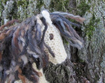 Knit Wool Toy Horse, Waldorf Pony - white and earthy natural stuffed animal