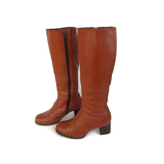 Campus Brown 70s Boho 5 Size 1970s 7 Heel Boots Boots 2 Bohemian Platform Boot 1 Hippie Calf Leather 7 UqFUrxZ