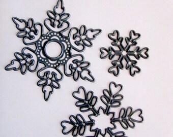 Kit 3 snowflakes, 3 sizes, 3 forms