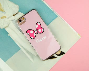 Minnie Mouse Bow Disney Custom Made Customised Personalised Name iPhone 5/5S/SE 6/6S 7 8 Plus X Samsung S6 S7 S7 Edge S8 Phone Case/Cover UK