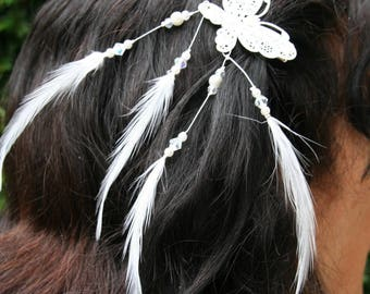 Feathers bridal Butterfly hair ornament