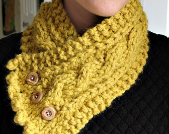 Handmade Scarf, Handmade Cowl, Braided Scarf, Cable Scarf, Cable Scarf with Buttons, Cozy Scarf, Ready to Ship