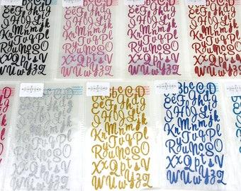 Glitter Cursive Alphabet Letters Stickers, 1-Inch, 50-count