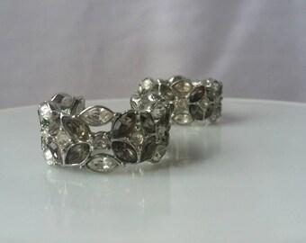 Vintage Rhinestone Crystal Hoop Earrings Costume Jewelry