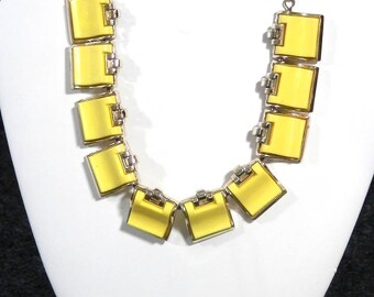1950s Yellow Chiclet Necklace and Clip Earring Set